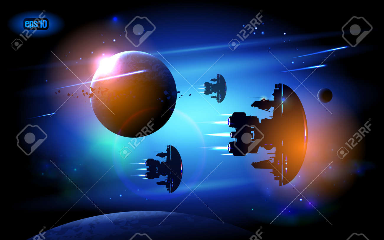 Alien Spacecrafts flying in outer space. Stock Vector - 12964702