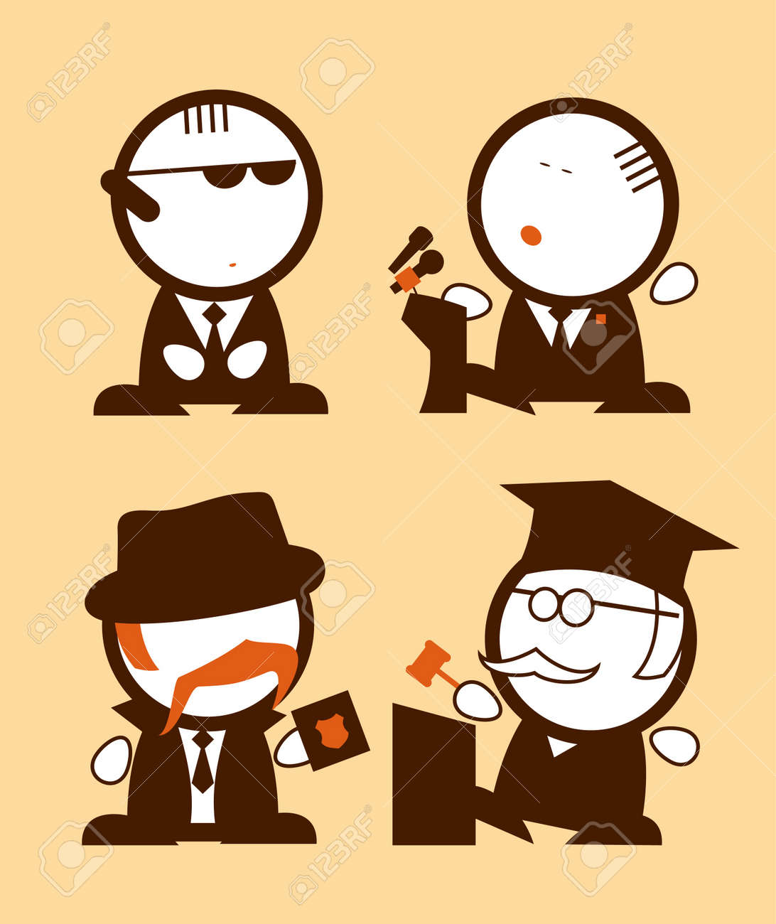 Set of Politics and Law profession funny peoples icons Stock Vector - 13059732