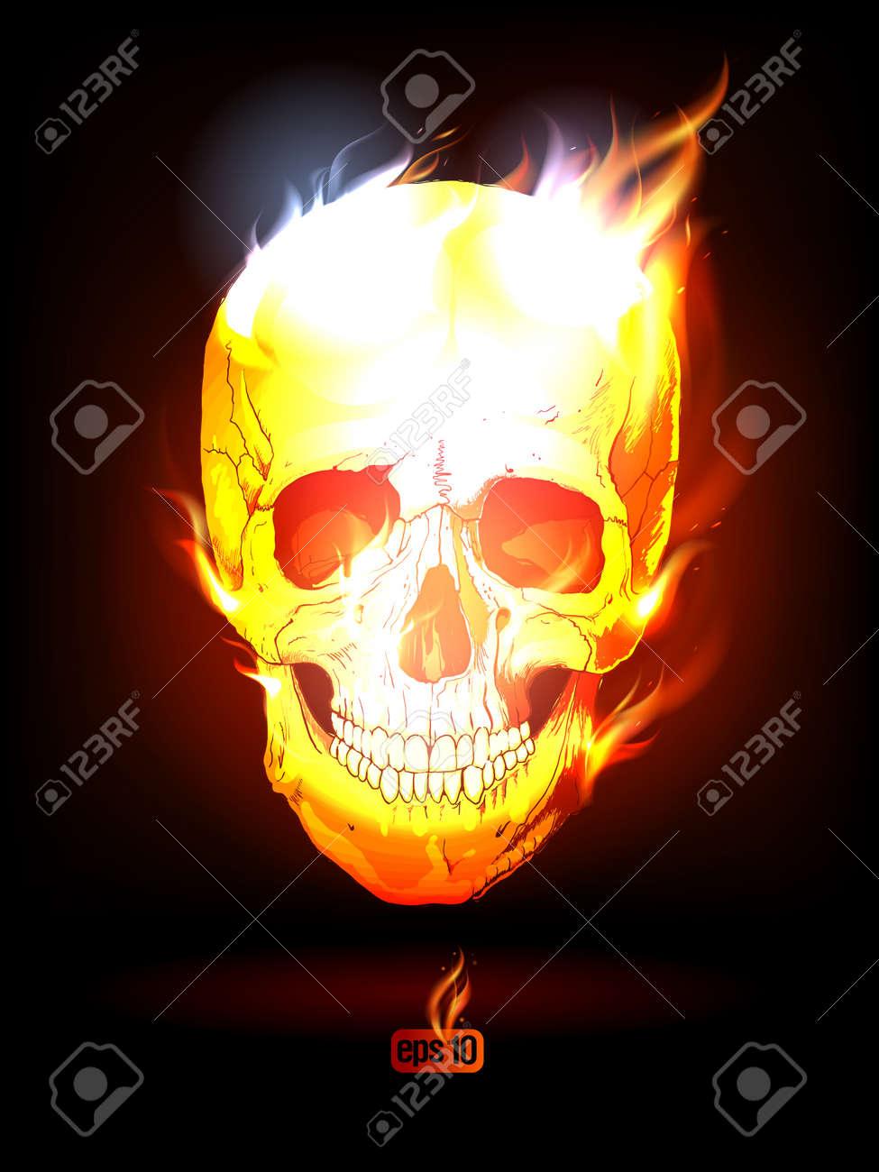 Fiery Human Skull  Eps10 Vector Stock Vector - 13059738
