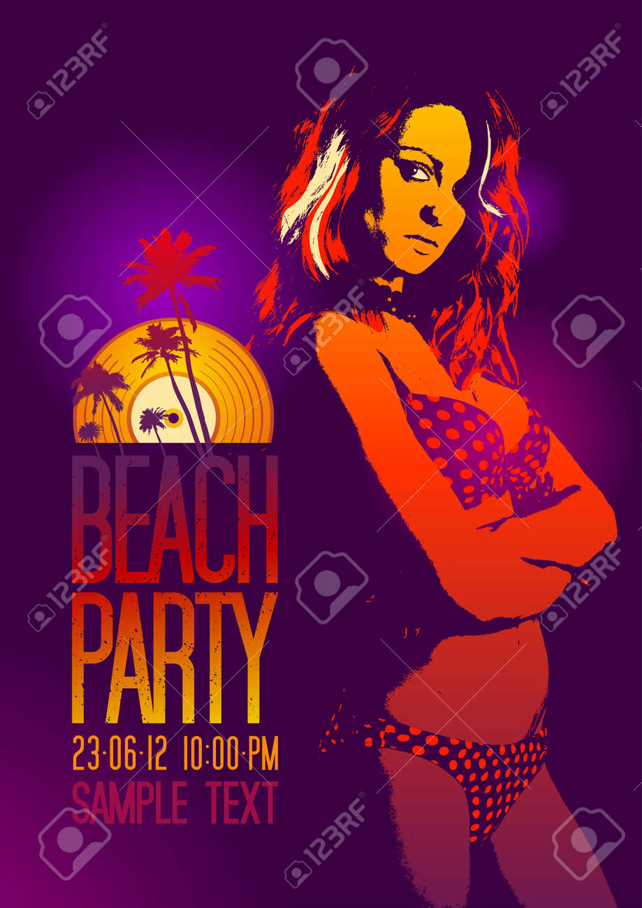 Beach Party design template with fashion girl and place for text Stock Vector - 13514072