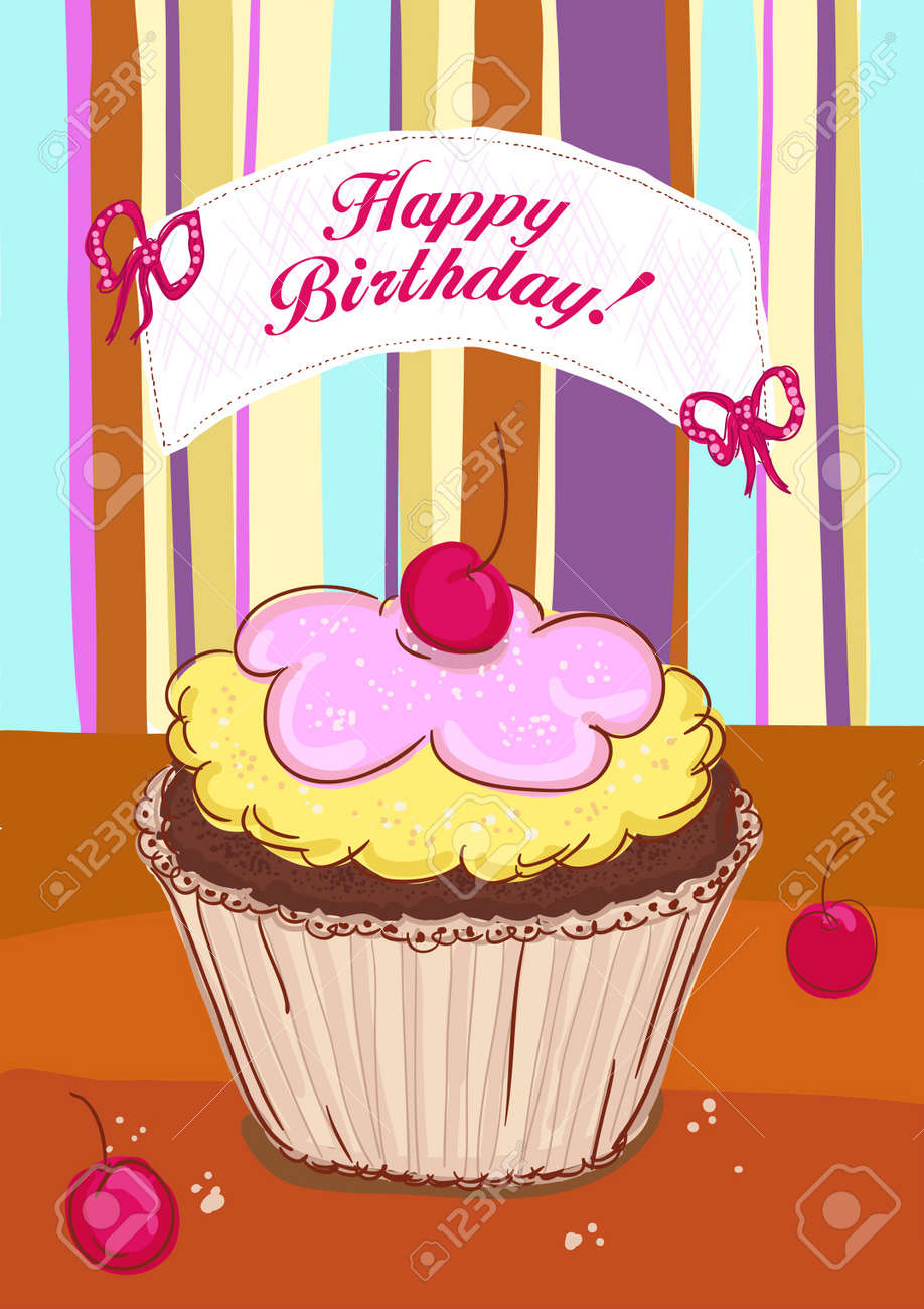 happy birthday card template with cupcake with cherry royalty free, Birthday card