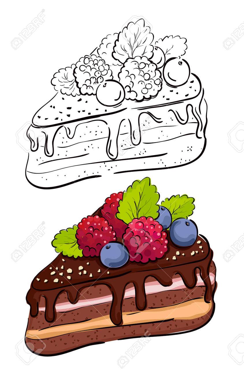 Cartoon slice of cake Color and retro version of the contour - 13514063