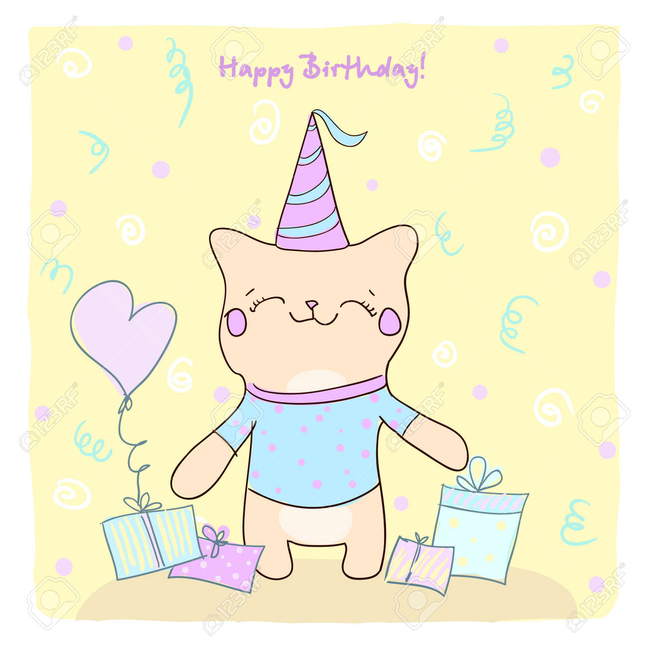 Birtday card for boy with cute smiling kitty and gifts Stock Vector - 13942110