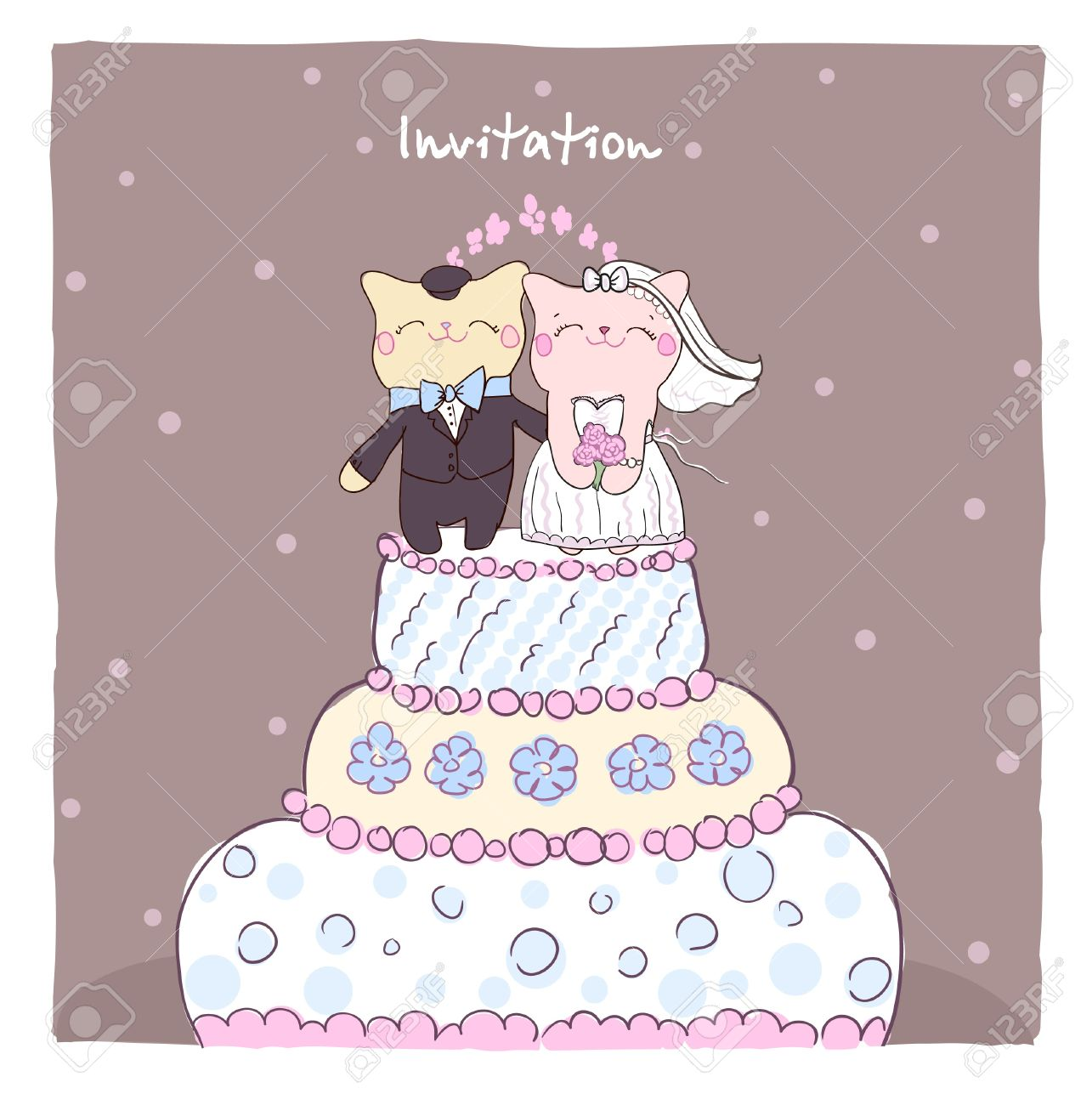 Wedding Invitation Card With Cake Topper Cute Cats Royalty Free ...