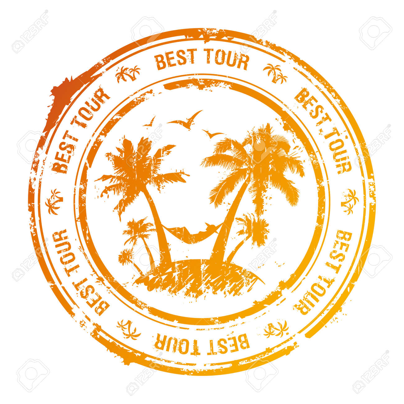 Best tour rubber stamp with tropical view Stock Vector - 14035109