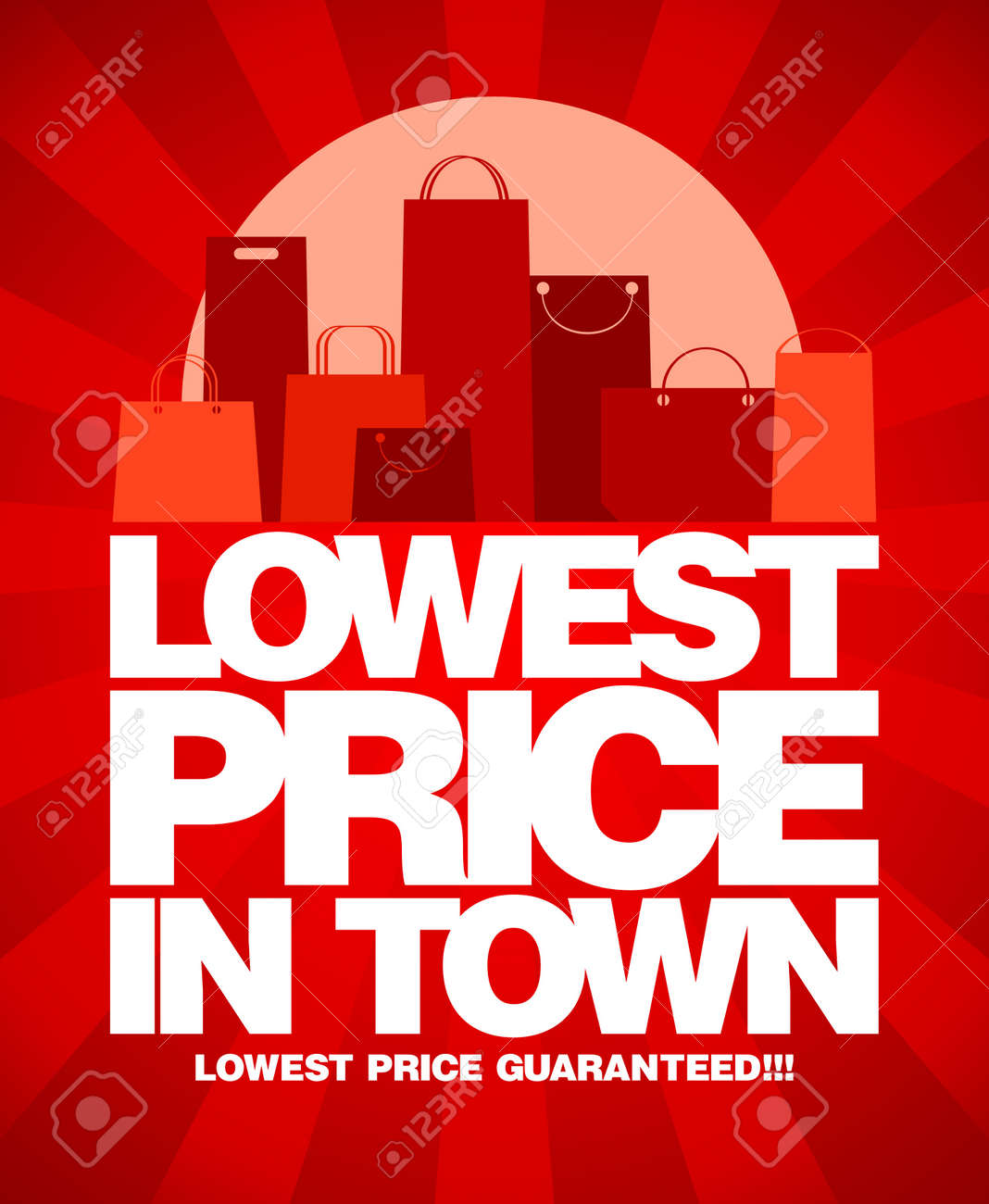 Price for a poster design - Lowest Price In Town Sale Design With Shopping Bags Stock Vector 14035090