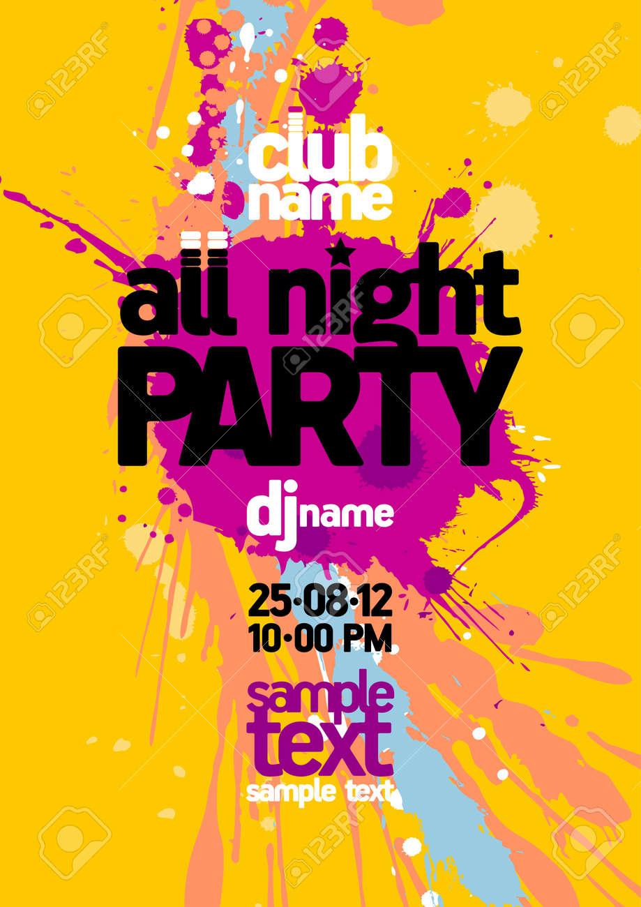 Tout modèle de conception Party Night avec place pour le texte Banque d'images - 14209562