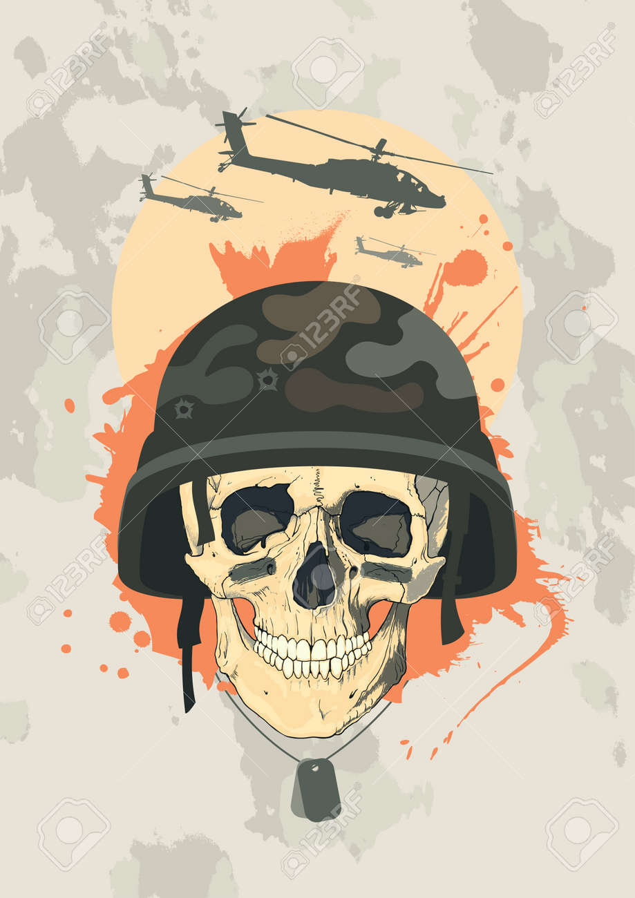 Military design template with human skull. Stock Vector - 14341080
