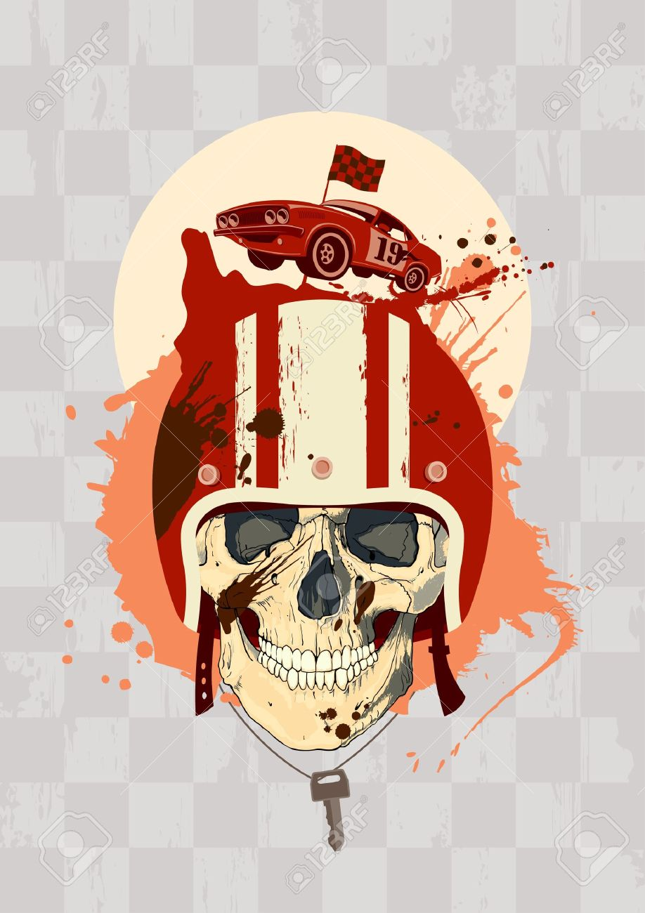 racing design template with racer skull royalty free cliparts
