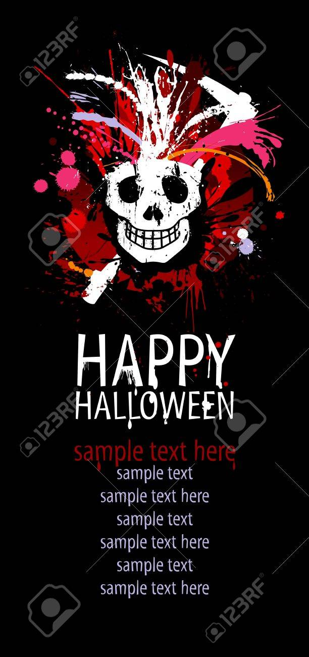 Happy Halloween Design template with grunge skull and place for text Stock Vector - 15148443