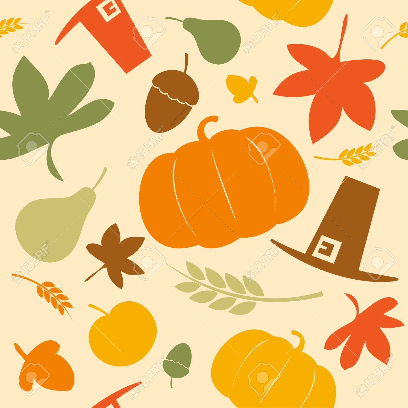 Autumn seamless background, Thanksgiving day. Stock Vector - 15148414