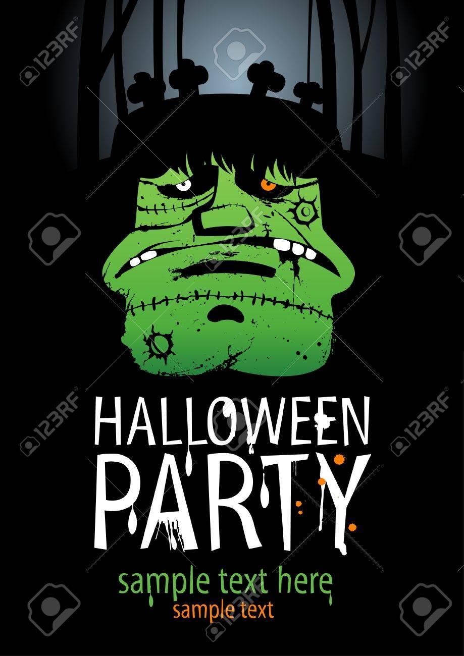 Halloween Party Design template, with Frankenstein Stock Vector - 15311987