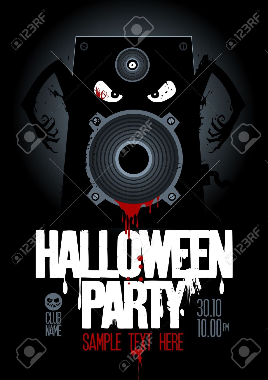 Halloween Party Design Template, With Wicked Bloody Speaker And ...