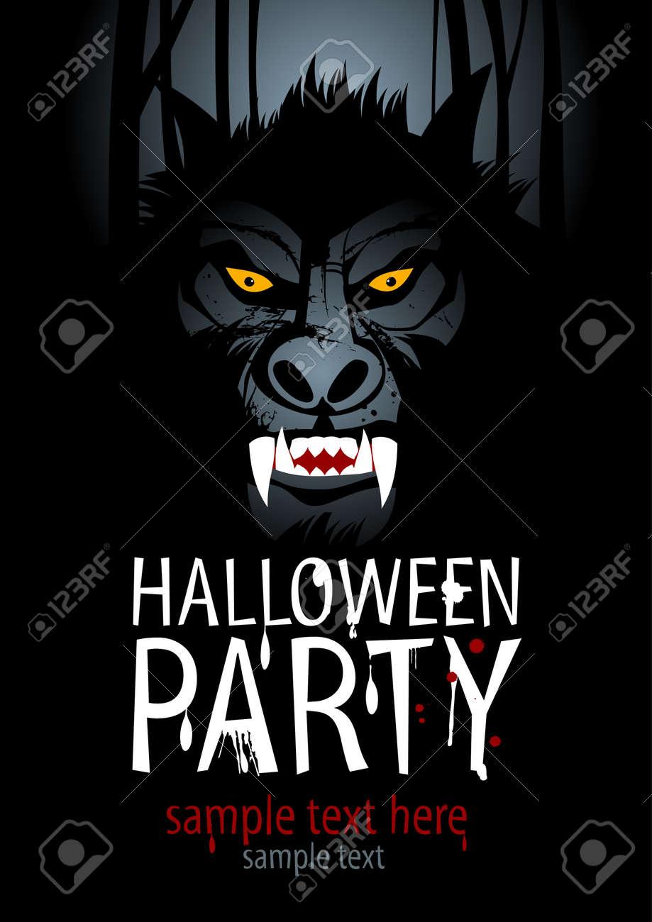 Halloween Party Design template with werewolf. Stock Vector - 15353117