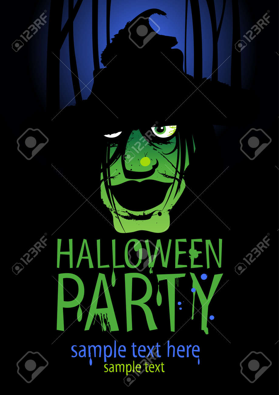 Halloween Party Design Template With Witch And Place For Text ...