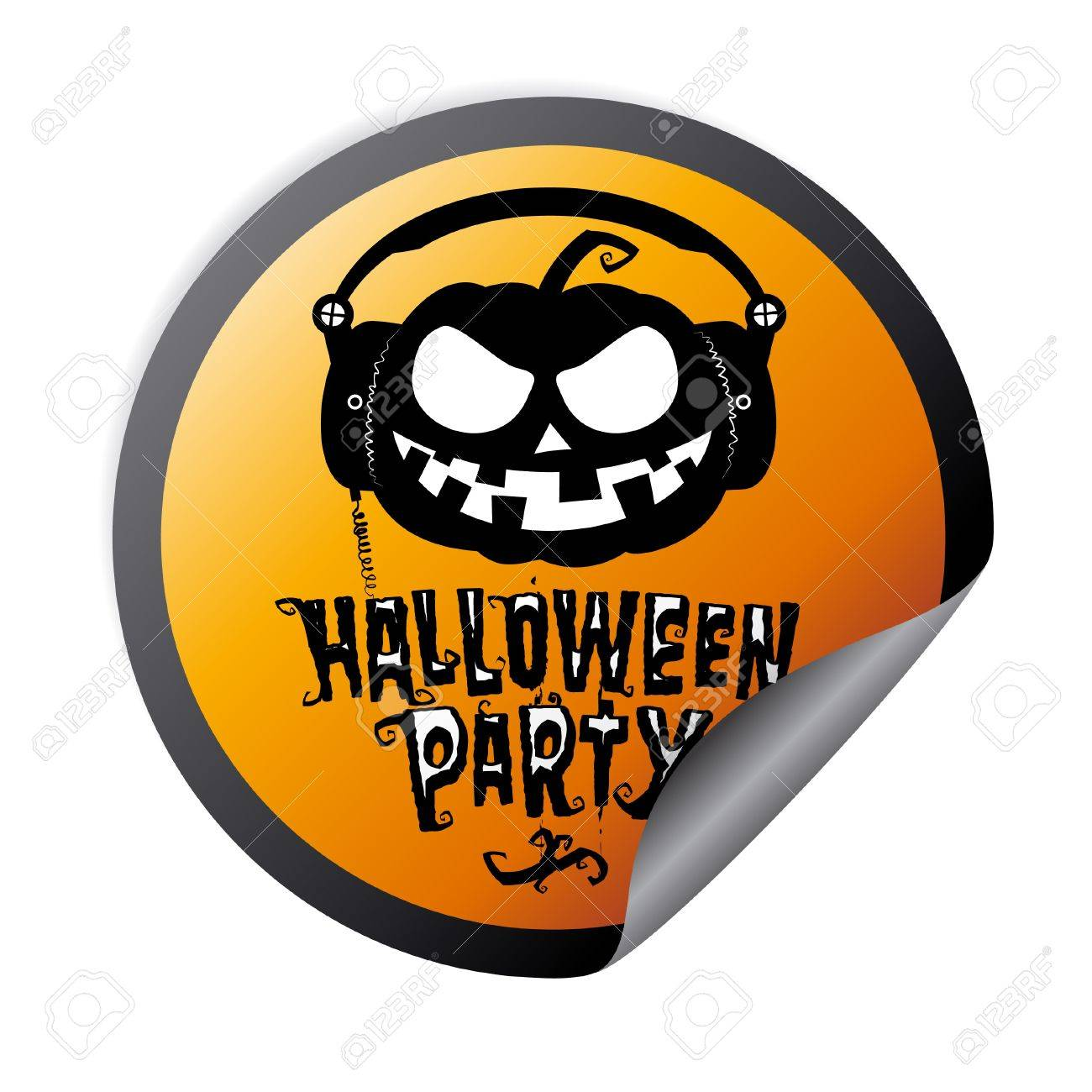 Halloween Party Sticker With Pumpkin Wear Headphones Royalty Free ...