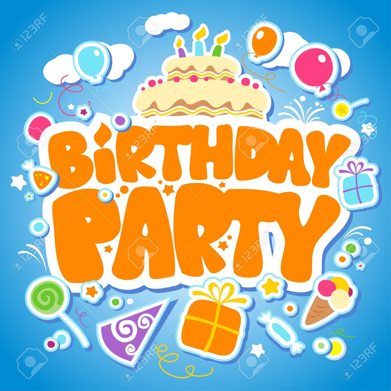 Birthday Party Design Vorlage Fur Kinder Standard Bild