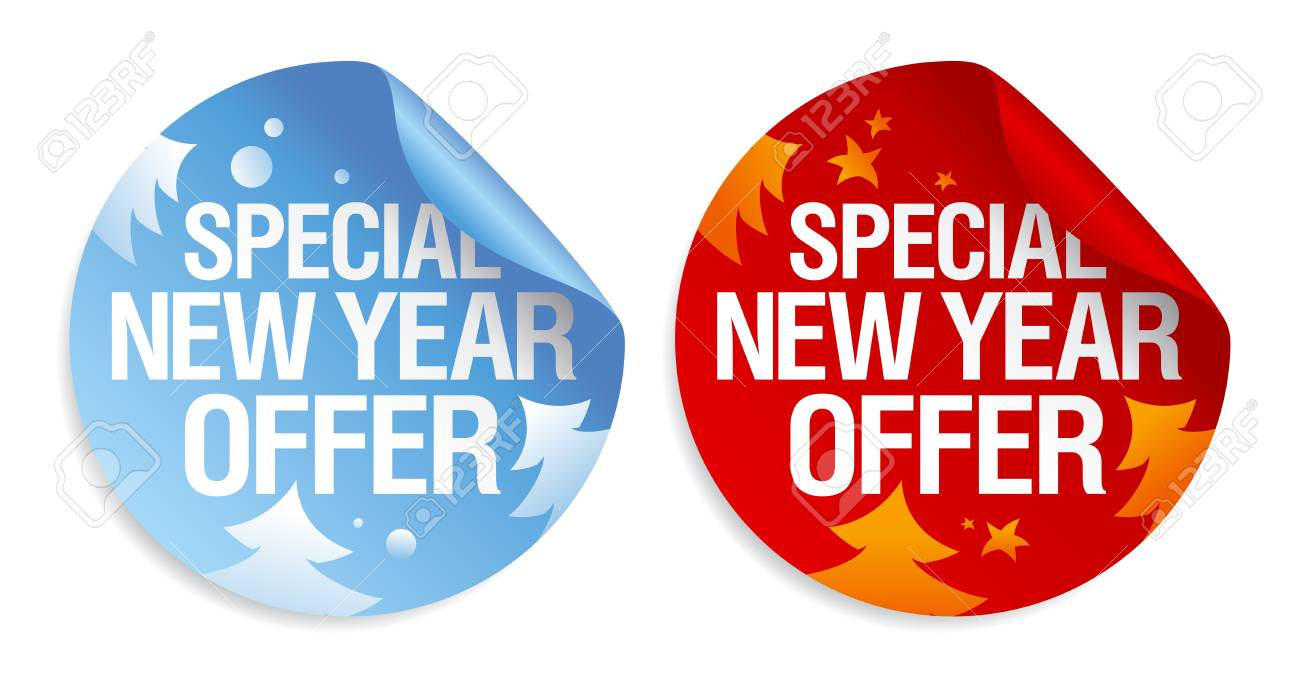 Special New Year Offer Stickers Set. Royalty Free Cliparts, Vectors ...