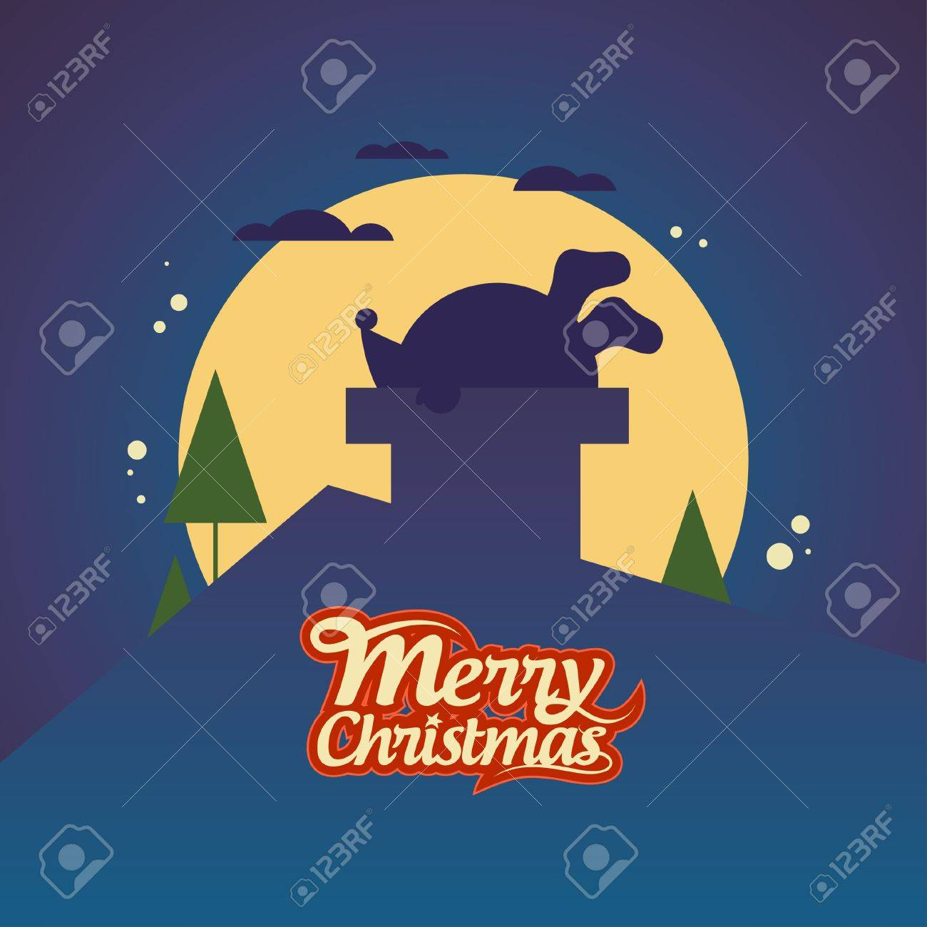 Christmas card with Santa Claus stuck in a chimney. Stock Vector - 16527812