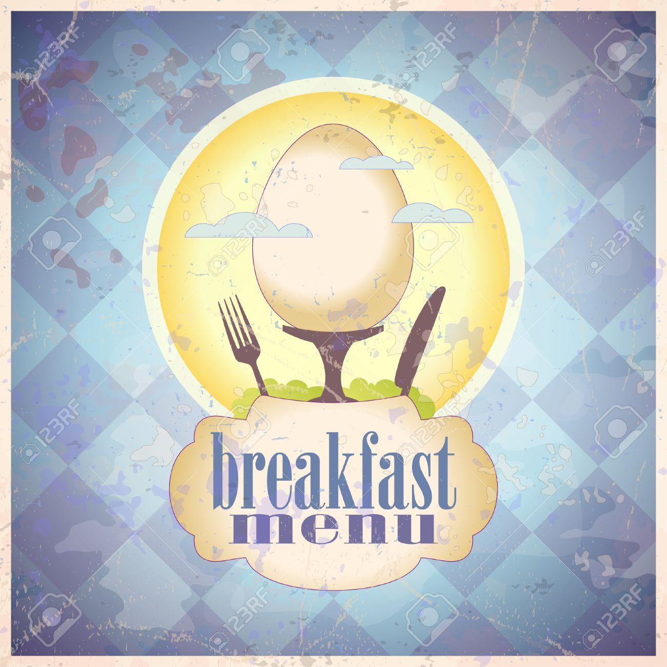 Retro Breakfast Menu Card Design Template Royalty Free Cliparts – Breakfast Menu Template