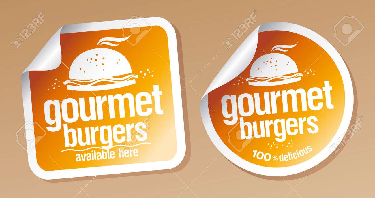 Gourmet burgers stickers set Stock Vector - 16680729