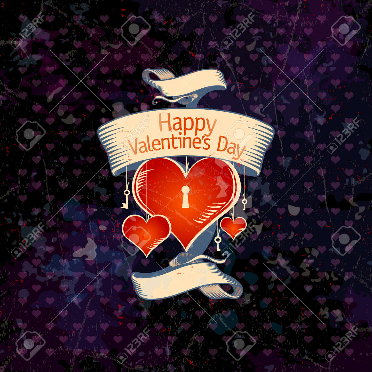 Retro Valentine card with hearts Stock Vector - 16917191