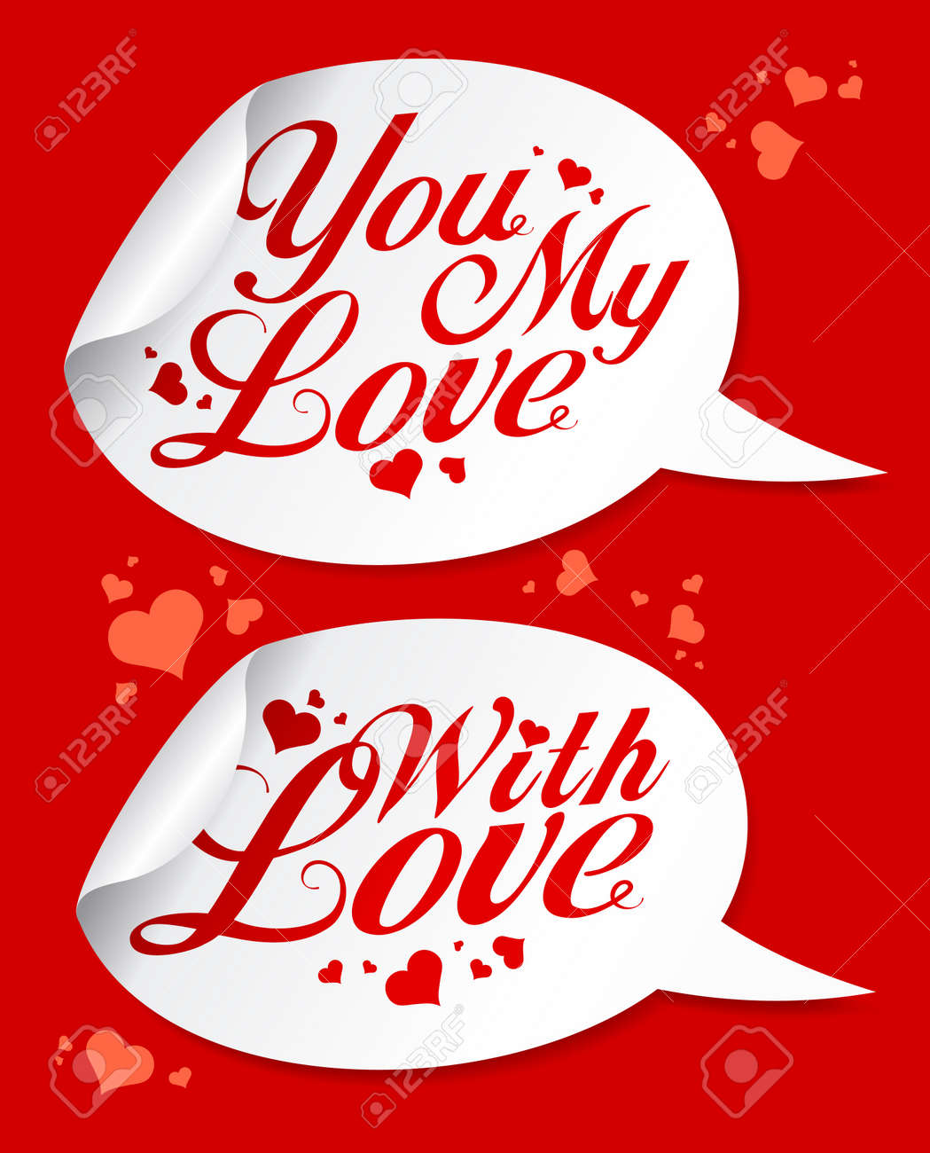 With love Valentine stickers in form of speech bubbles. Stock Vector - 16917130