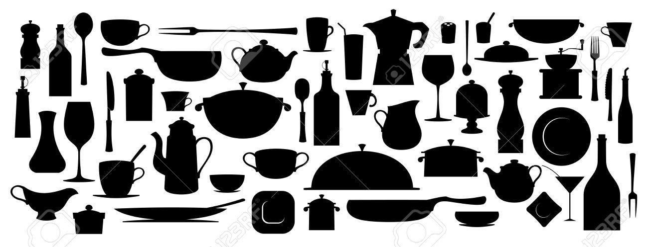 Kitchen Utensils Silhouette Vector Free collection of silhouette kitchen utensil tool. royalty free
