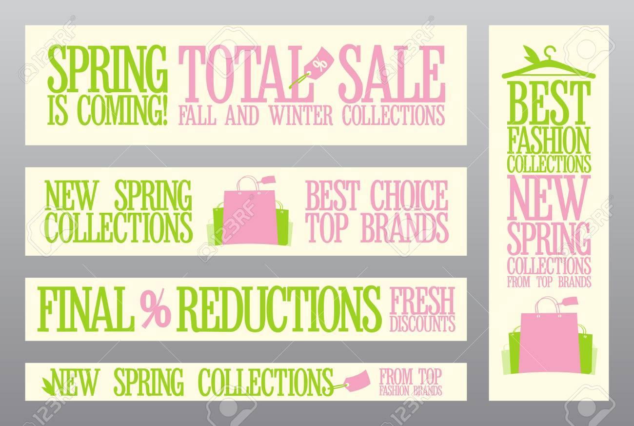 販売および新しいコレクション春のファッションのバナー