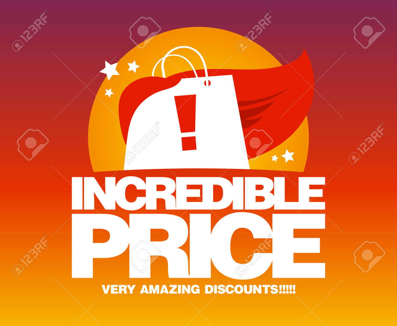 Price for a poster design - Discount Poster Incredible Price Sale Design Template With Shopping Bag As A Superhero Illustration