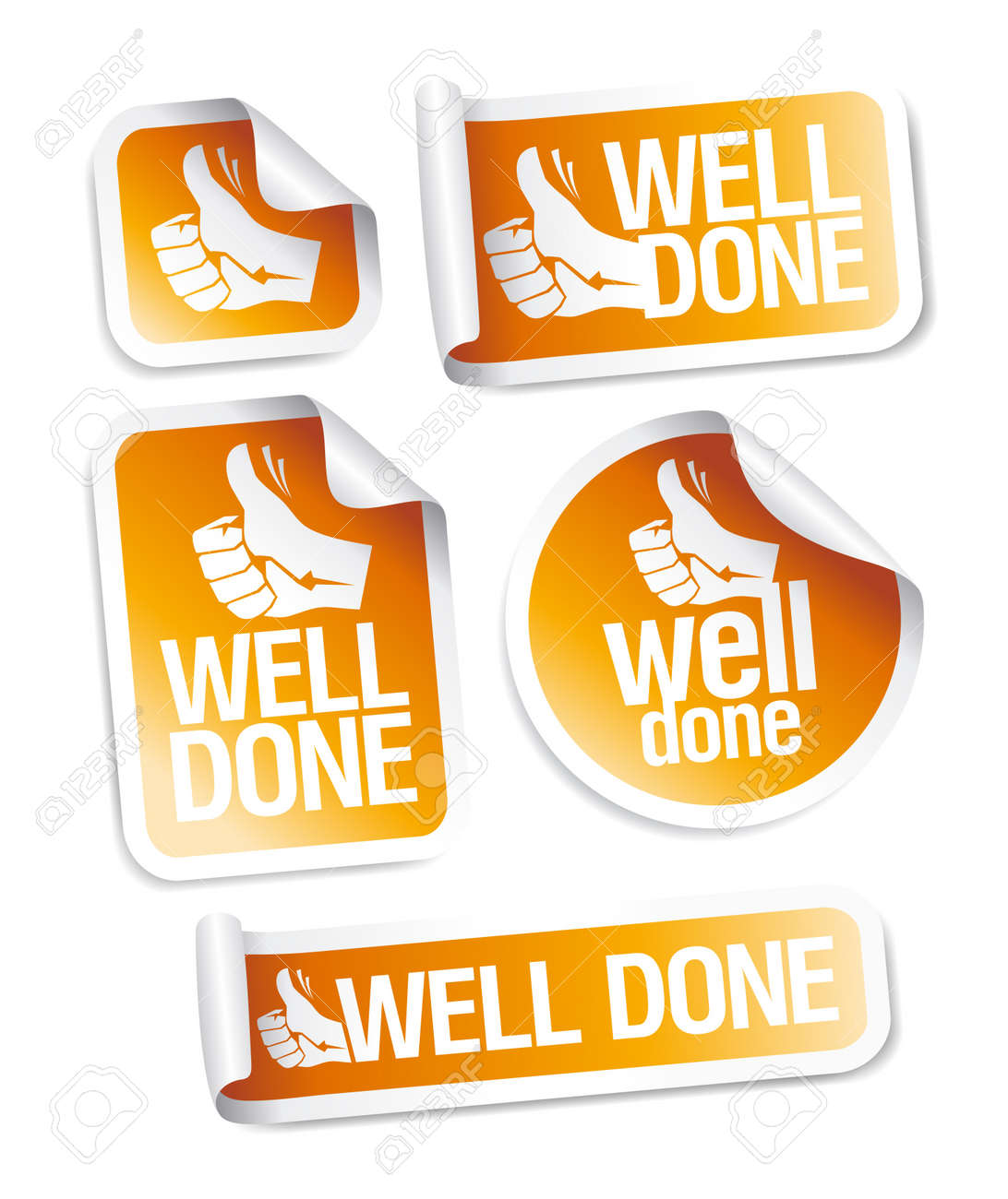 Well done stickers with hand thumbs up symbol. Stock Vector - 17932698