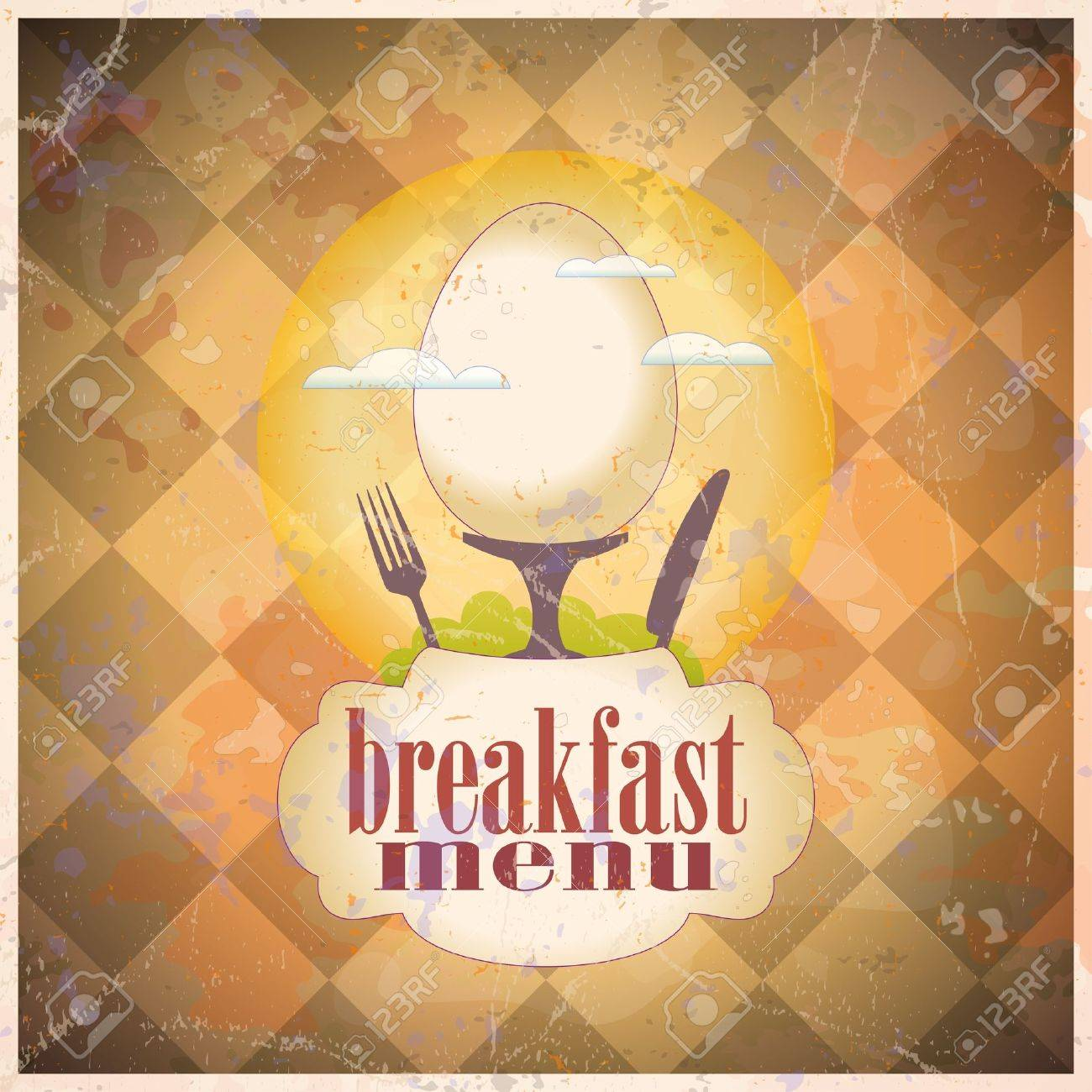 Retro Breakfast Menu Card Design Template Royalty Free Cliparts – Breakfast Menu Template