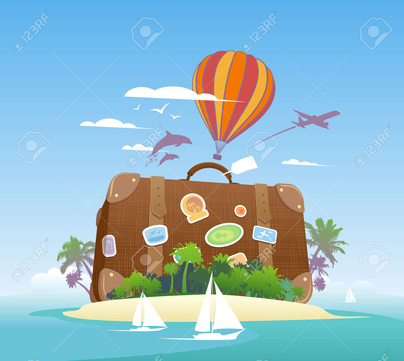 Huge suitcase on a tropical island Travel design template - 20328448