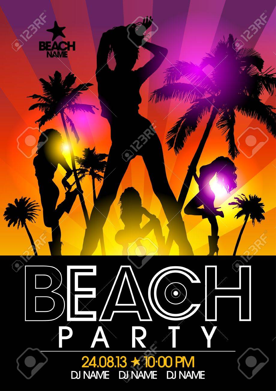 Beach Party design template with fashion girls in the rays of light Stock Vector - 21400799