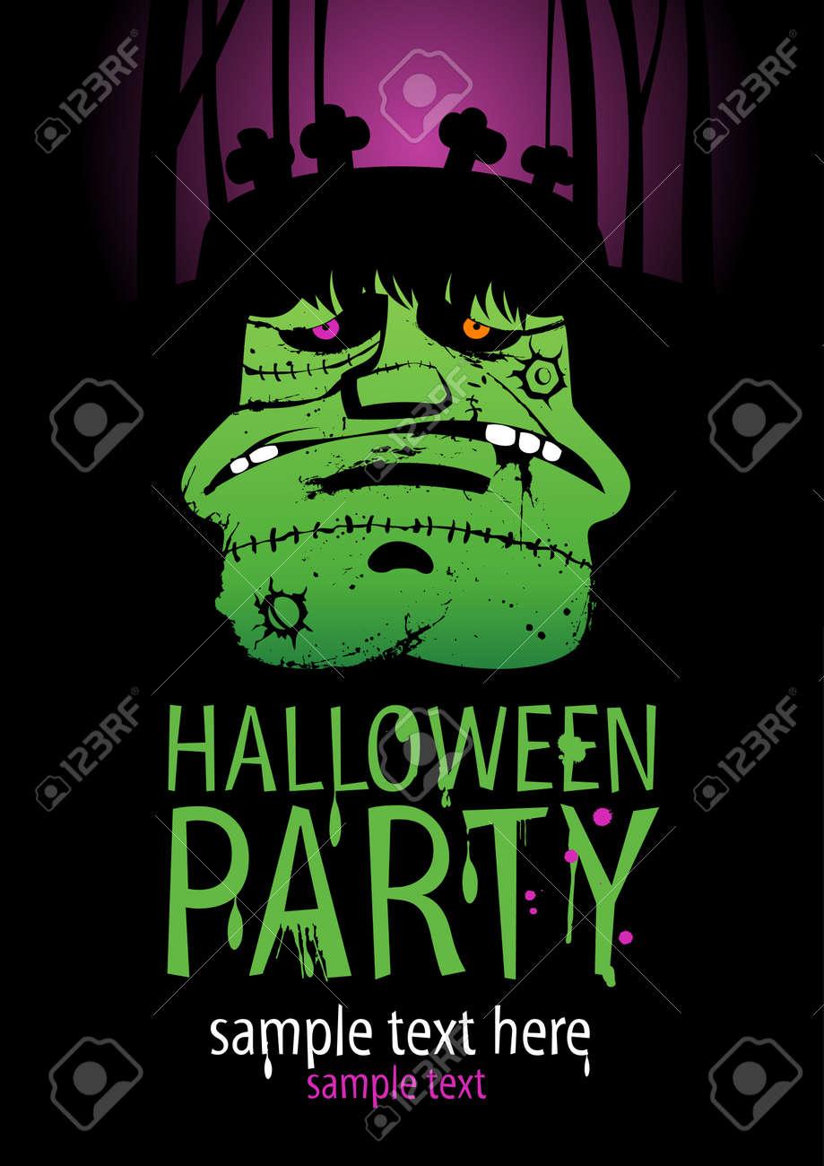 Halloween Party Design template, with Frankenstein. Stock Vector - 21642073
