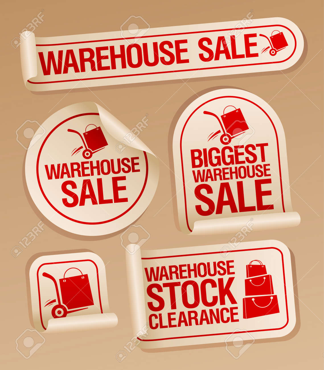 Warehouse sale stickers with hand truck. Stock Vector - 21642216