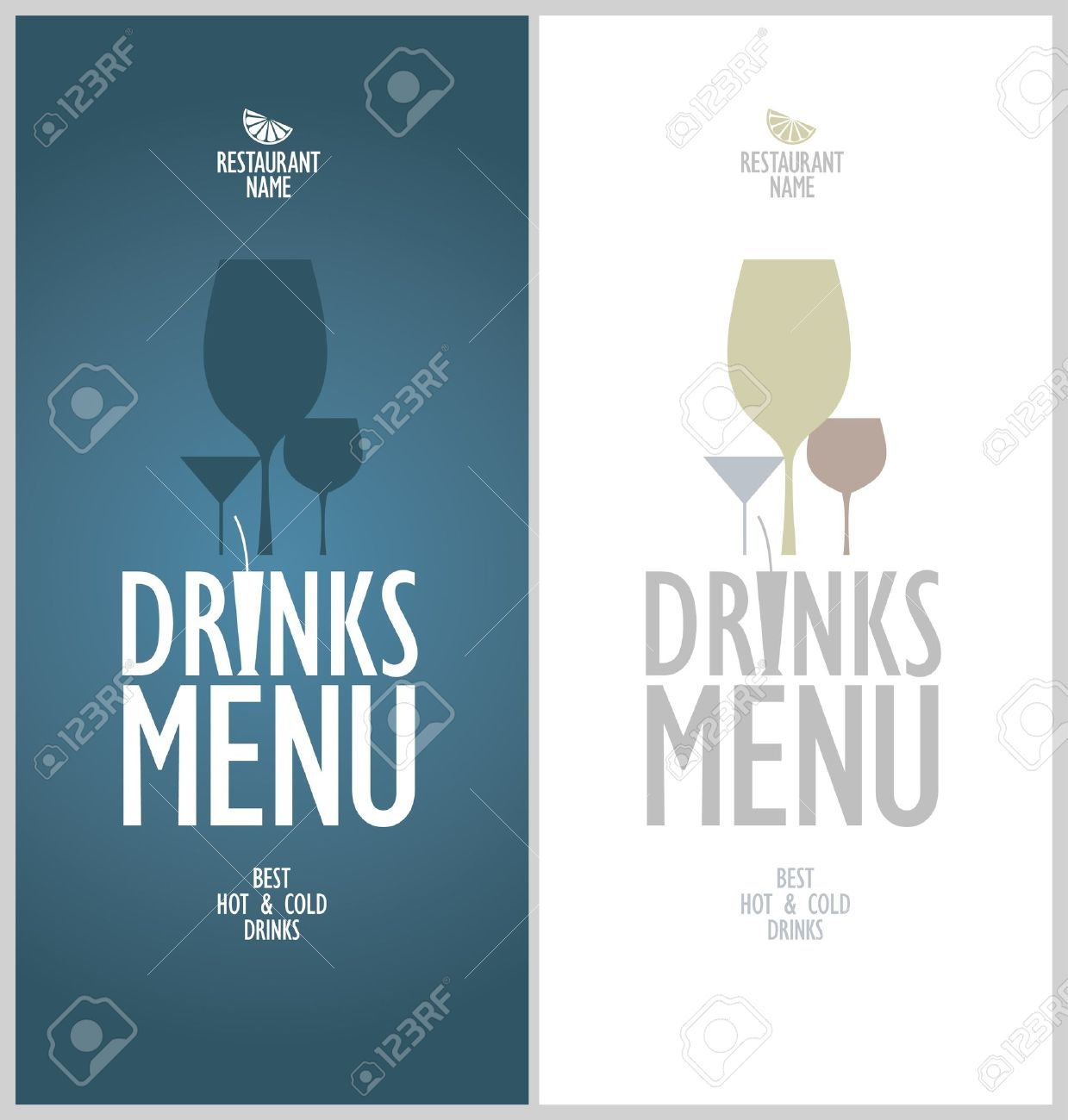 Drinks Menu Cards Design Template Royalty Free Cliparts Vectors – Drinks Menu Template Free