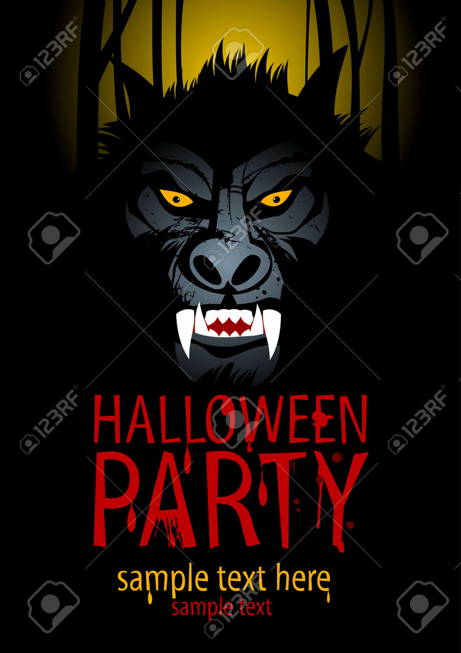 Halloween Party Design template with werewolf. Stock Vector - 21947437
