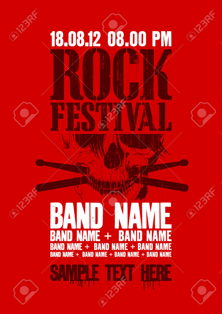 Rock festival design template with skull and place for text. Stock Vector - 22749010