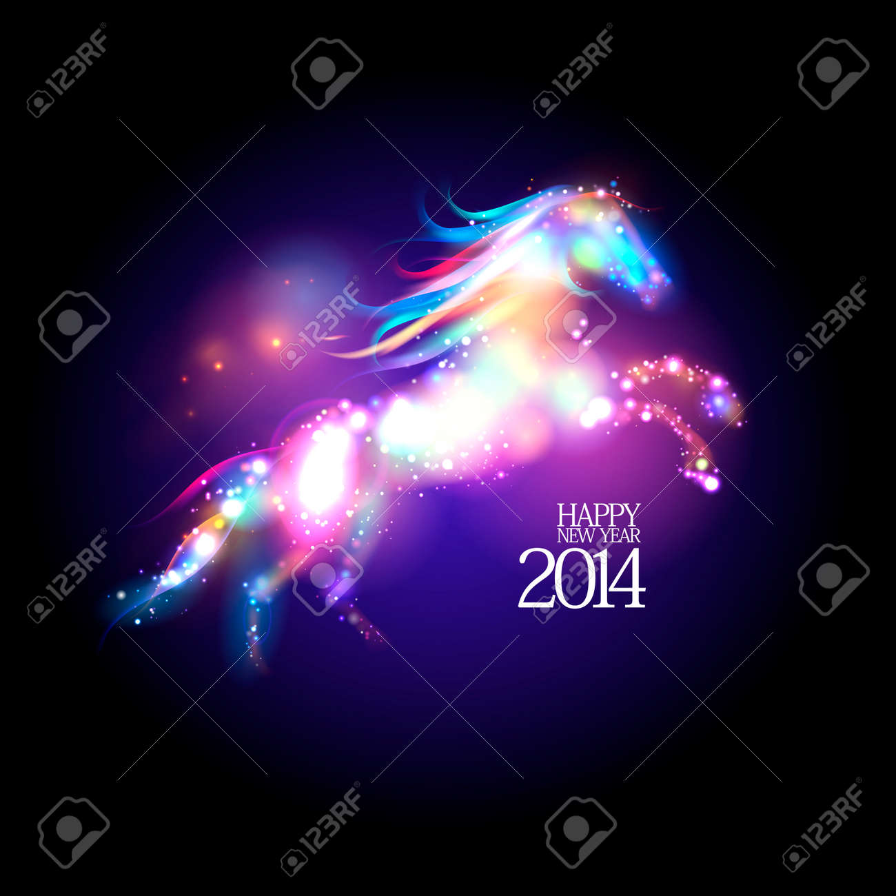 2014 new year design with abstract neon horse. Stock Vector - 23384765