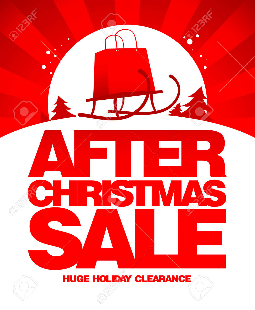 After Christmas Sale Design Template With Shopping Bag On A Sled ...
