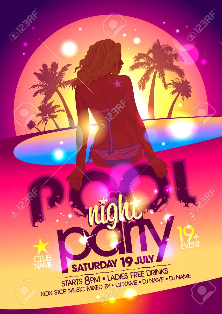 cartel fiesta en la piscina de noche. eps10 ilustraciones