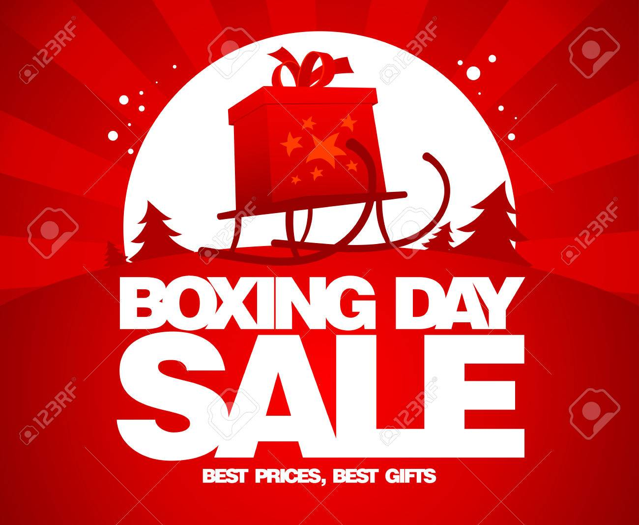 Gift Box On A Sled Boxing Day Sale Design Royalty Free Cliparts Vectors And Stock Illustration Image 33976257