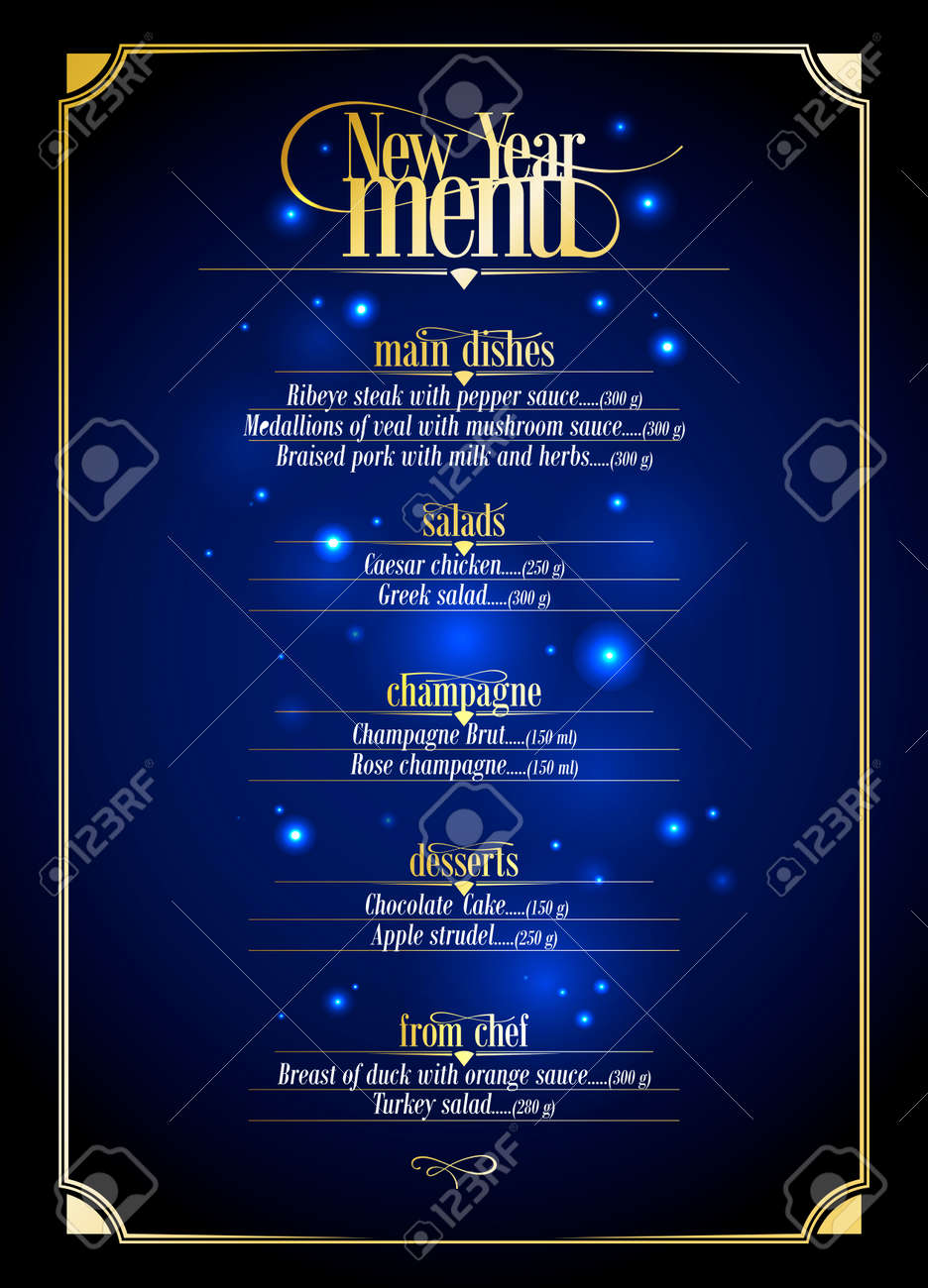 New Year menu list, dark blue with gold design with place for text. Eps10 - 34577874