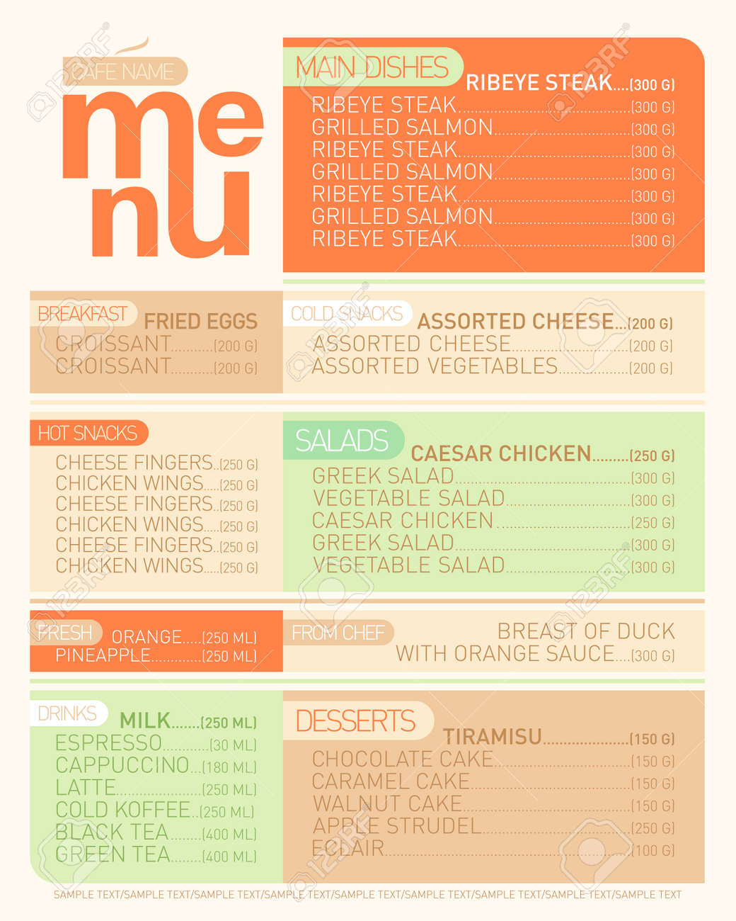 Modern Flat Menu List With Dishes Royalty Free Cliparts Vectors