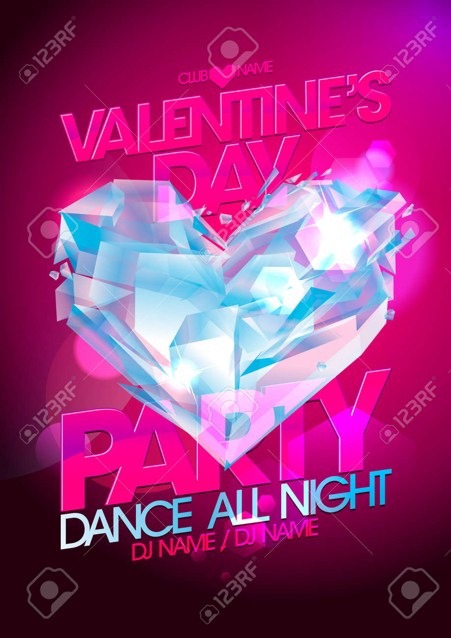 Valentines Day Party Pink Design With Diamond Heart Royalty Free