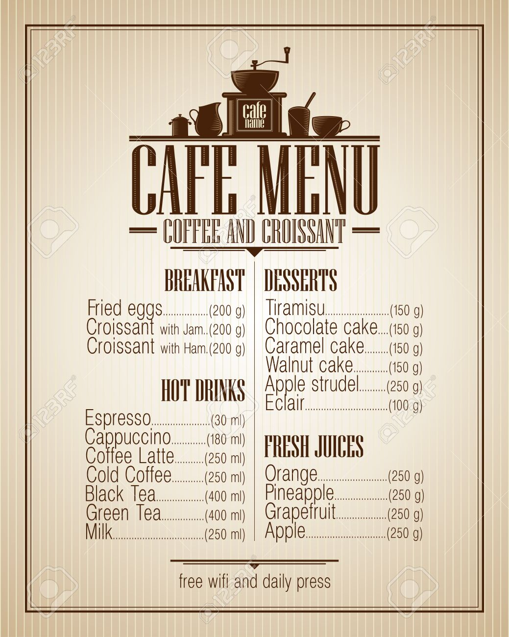 cafe menu list with dishes name retro style design royalty free