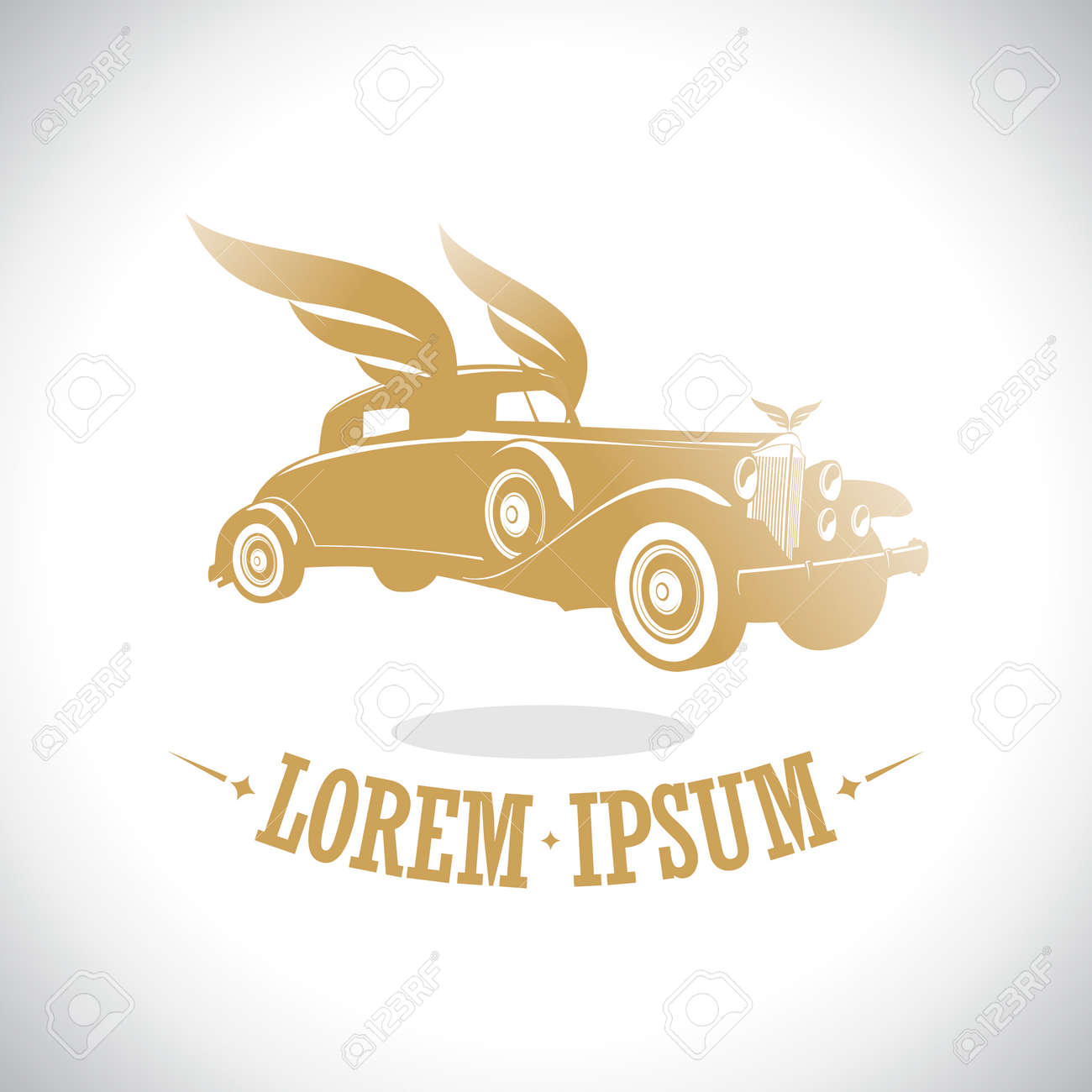 Gold retro car with wings logo template