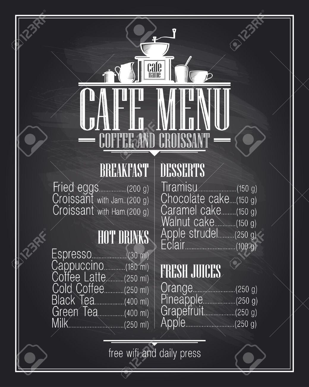 Tafel-Café-Menü-Liste Design Mit Gerichten Namen, Retro-Stil ...