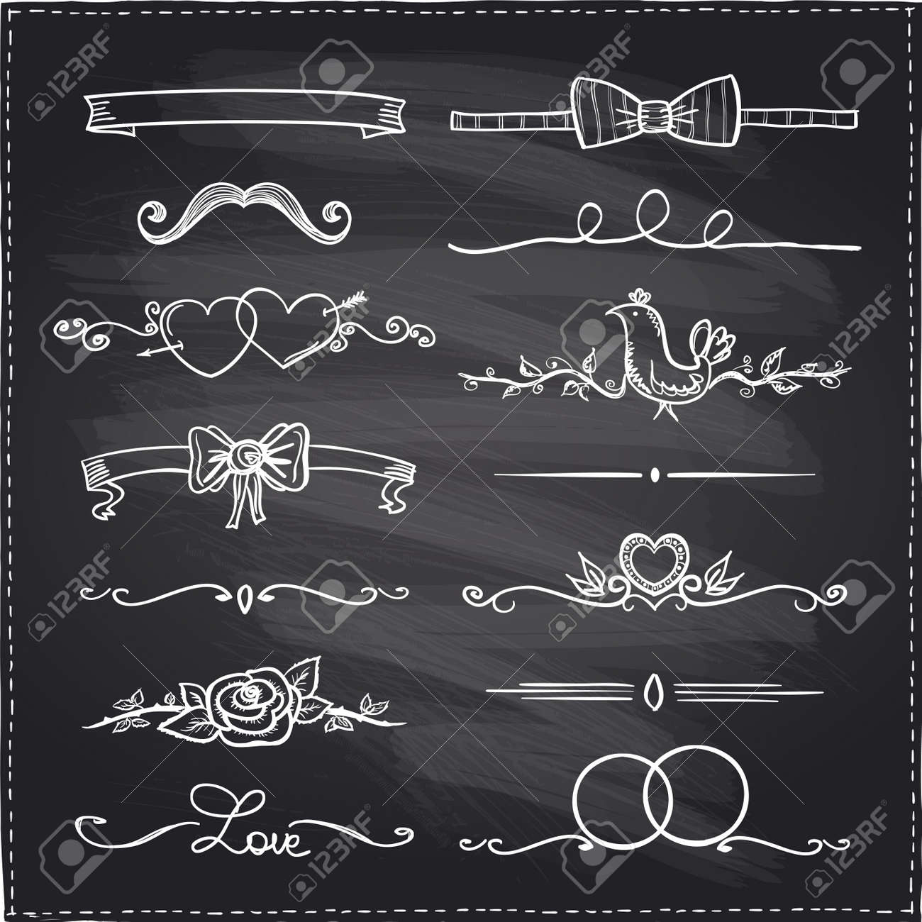 chalkboard hand drawn graphic elements love and wedding theme